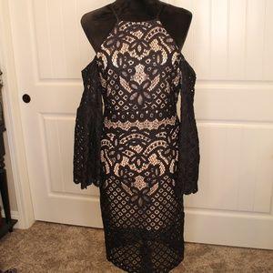 Elegant Bardot Lacey Bell Sleeved Halt Top Dress
